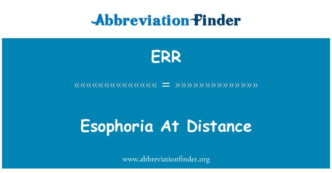 ERR: 在距离 Esophoria