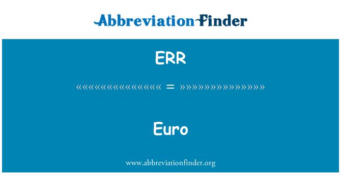 ERR: Euro