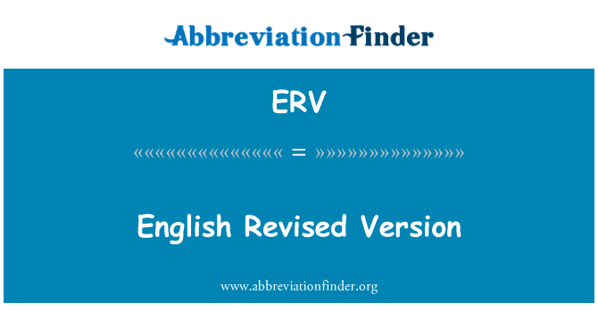 ERV: English Revised Version