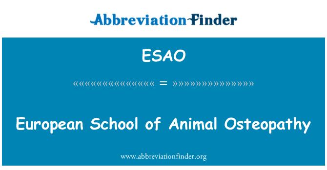 ESAO: Osteopatía de la Escuela Europea de Animal