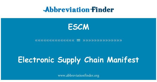 ESCM: Manifeste de chaîne d'approvisionnement électronique