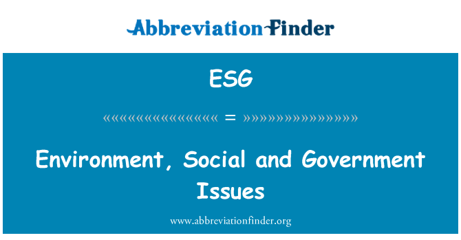 ESG: Environment, Social and Government Issues