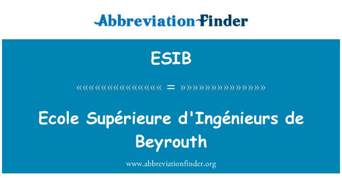 ESIB: Ecole Supérieure d'Ingénieurs de Beyrouth