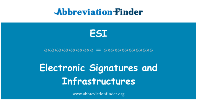ESI: Electronic Signatures and Infrastructures