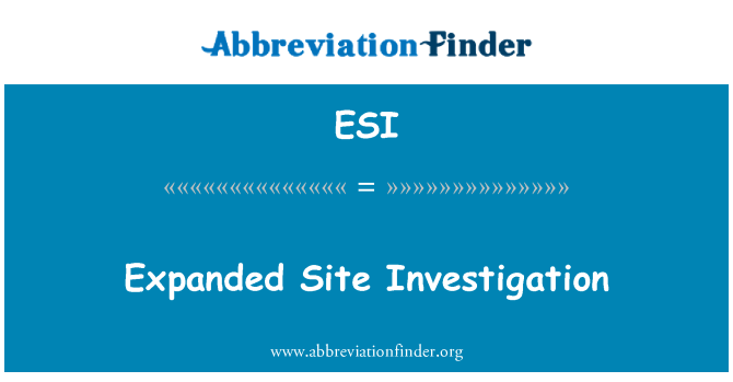 ESI: Expanded Site Investigation