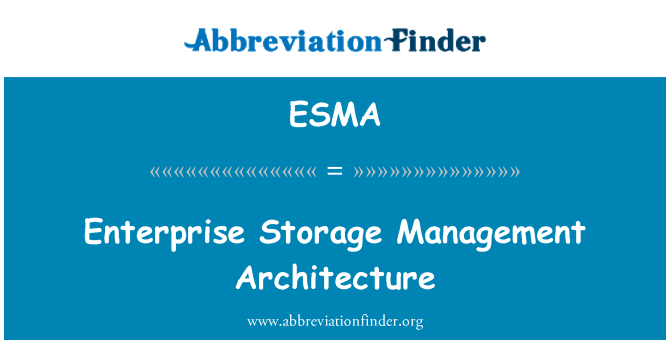 ESMA: Enterprise Storage Management Architecture