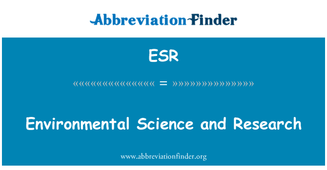 ESR: Environmental Science and Research