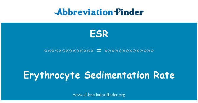 ESR: Erythrocyte Sedimentation Rate