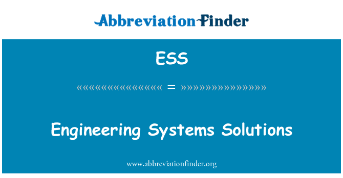 ESS: Engineering Systems Solutions