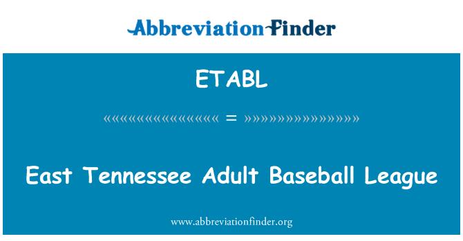 ETABL: East Tennessee Adult Baseball League