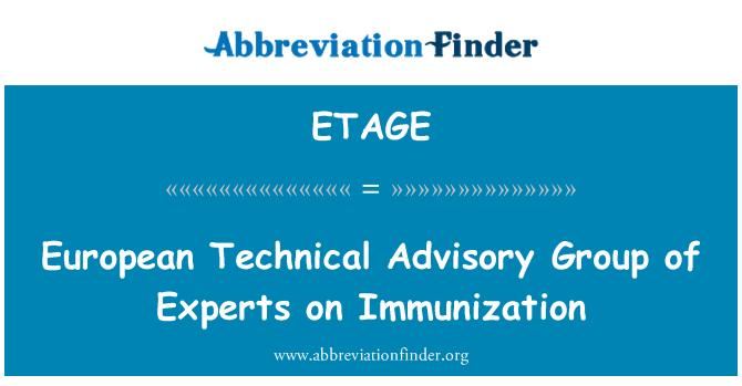 ETAGE: Europea del Grupo Técnico Asesor de expertos sobre la inmunización