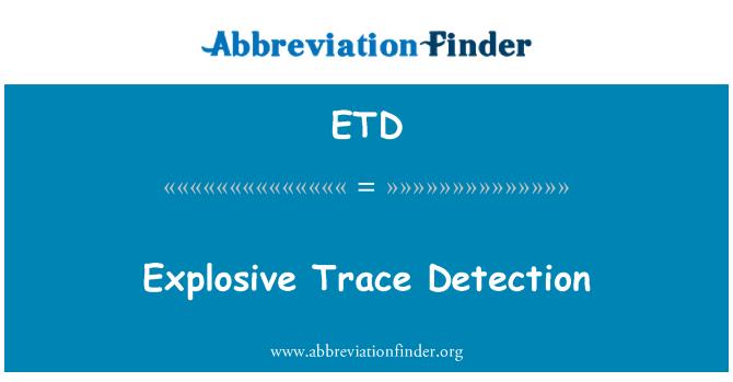ETD: Explosive Trace Detection