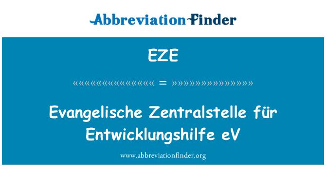 EZE: Evangelische Zentralstelle für Entwicklungshilfe eV