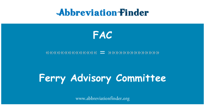 FAC: Ferry Advisory Committee