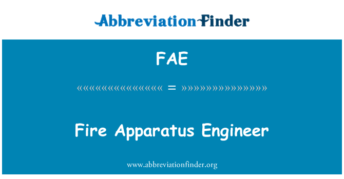 FAE: Fire Apparatus Engineer