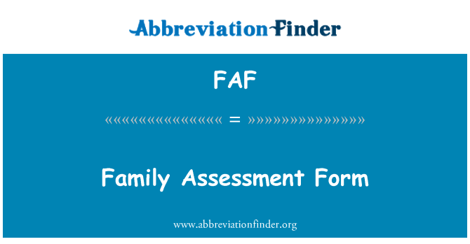 FAF: Family Assessment Form