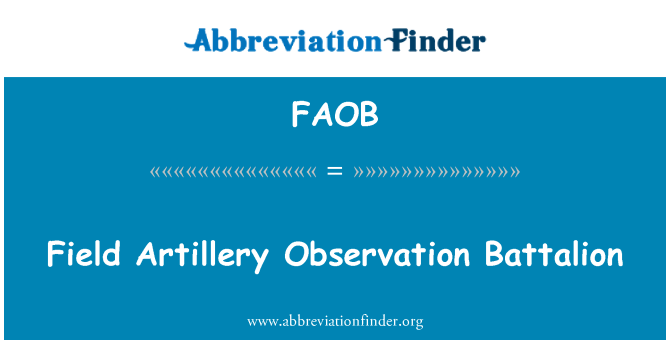 FAOB: Field Artillery Observation Battalion