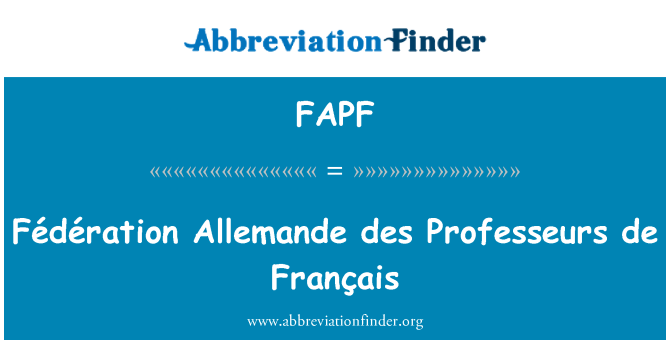 FAPF: Fédération Allemande des Professeurs de Français