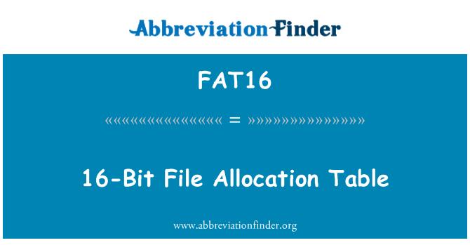 FAT16: Tabla de asignación de archivos de 16 bits