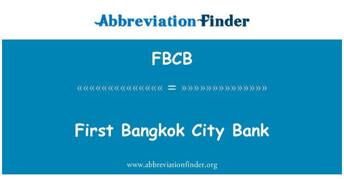 FBCB: First Bangkok City Bank