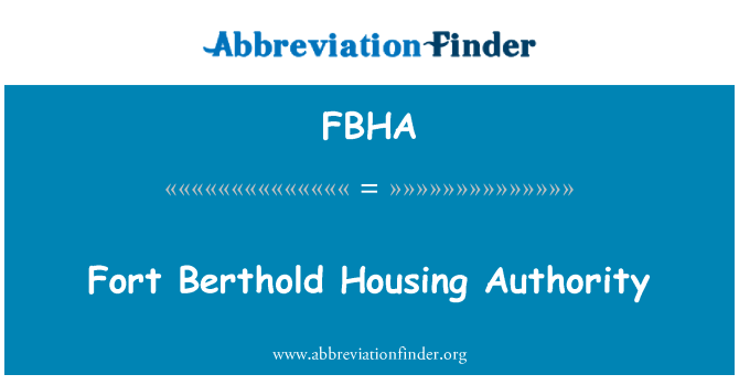 FBHA: Autoridad de vivienda de Fort Berthold