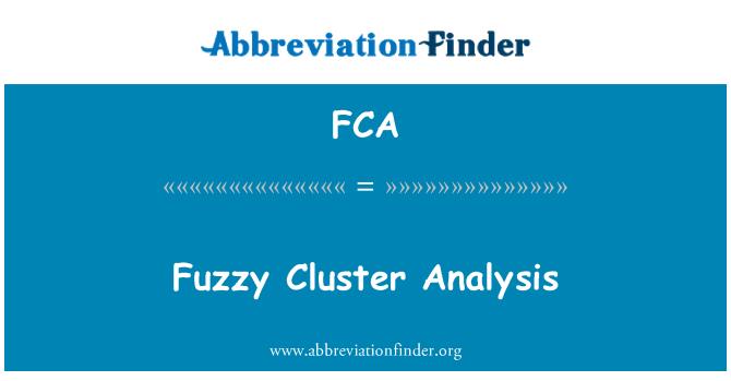 FCA: Fuzzy Cluster Analysis