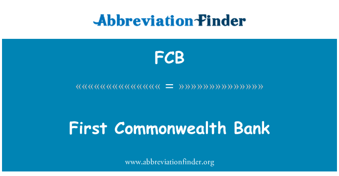 FCB: First Commonwealth Bank