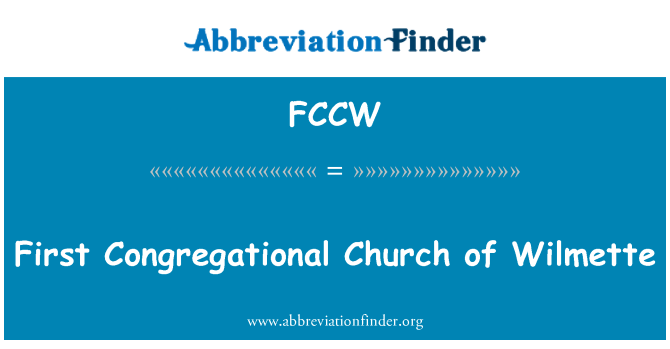 FCCW: First Congregational Church of Wilmette
