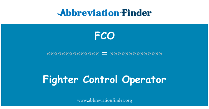 FCO: Fighter Control Operator