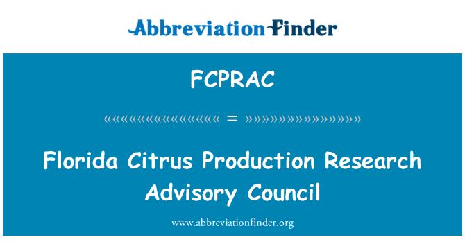 FCPRAC: Florida Citrus Production Research Advisory Council