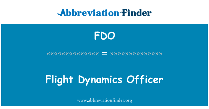 FDO: Flight Dynamics Officer