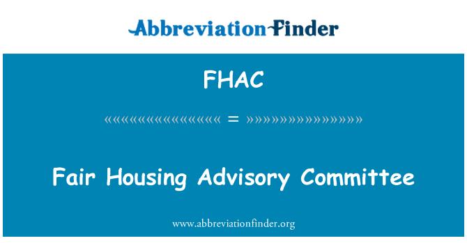 FHAC: Fair Housing Advisory Committee