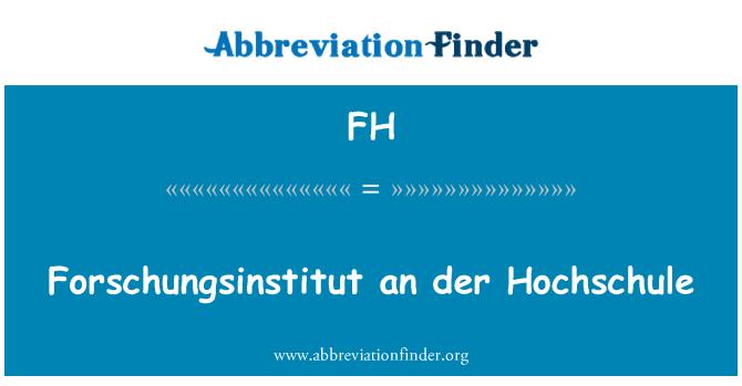 FH: Forschungsinstitut der Hochschule
