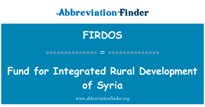 FIRDOS: Fund for Integrated Rural Development of Syria