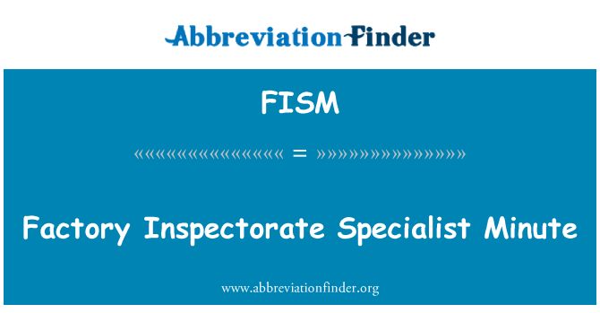 FISM: Factory Inspectorate Specialist Minute