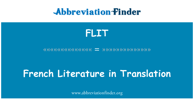 FLIT: French Literature in Translation