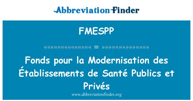 FMESPP: Fonds pour la Modernisation des Établissements de Santé Publics et Privés