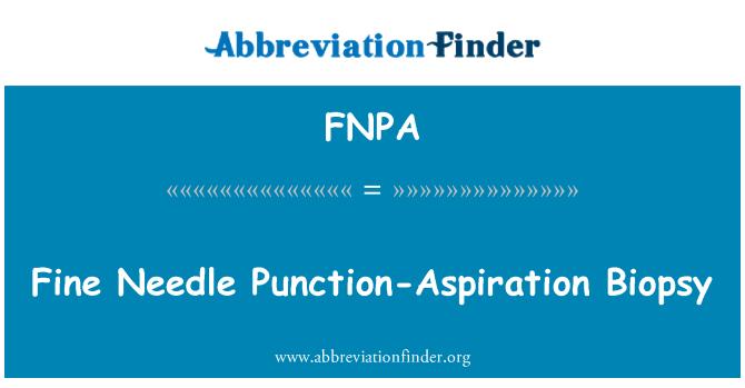 FNPA: Fine Needle Punction-Aspiration Biopsy