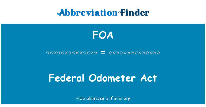 FOA: Federal Odometer Act