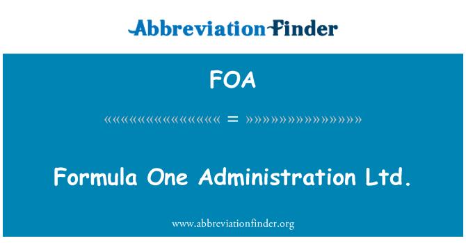 FOA: Formula One Administration Ltd.