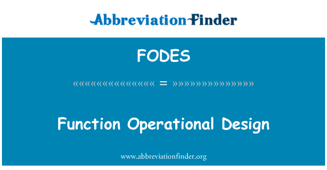 FODES: Function Operational Design
