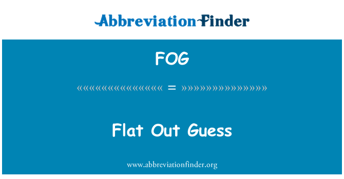 FOG: Flat Out Guess