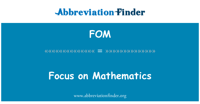 FOM: Focus on Mathematics
