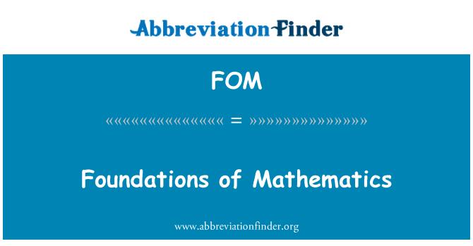FOM: Foundations of Mathematics