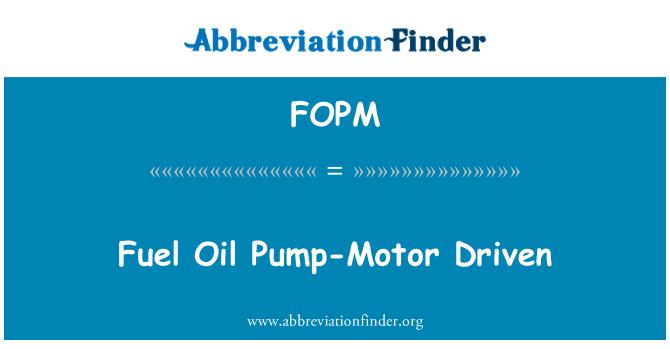 FOPM: Bomba de fuel-Oil-impulsado por Motor