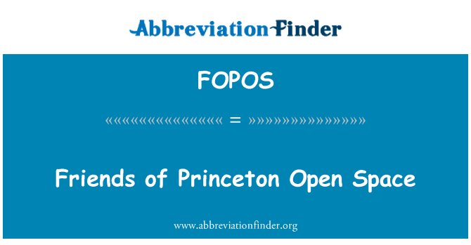 FOPOS: Friends of Princeton Open Space