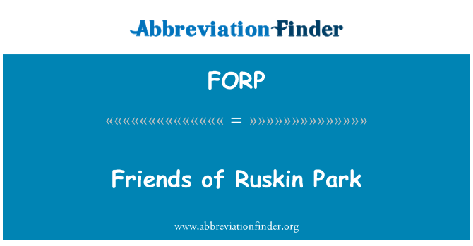 FORP: Friends of Ruskin Park