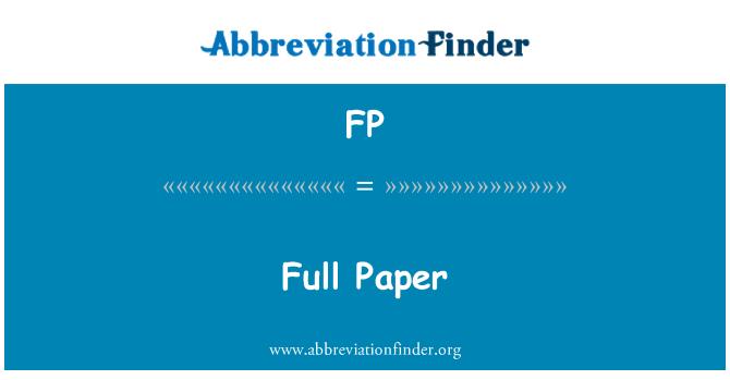 FP: Full Paper