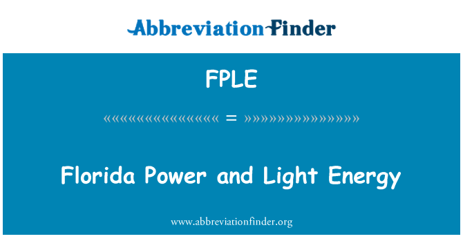 FPLE: Florida Power and Light Energy