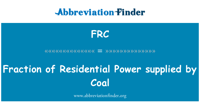 FRC: Fraction of Residential Power supplied by Coal